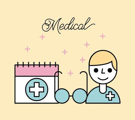 医療漫画医者メガネとカレンダー ベクトル イラスト  イラスト・ベクター素材
