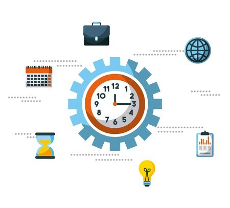 business clock time inside gear work team collaboration vector illustration Çizim