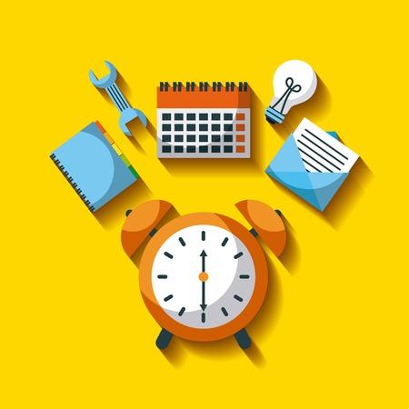ビジネス時計アラーム時間ツール仕事効率ベクトル図  イラスト・ベクター素材