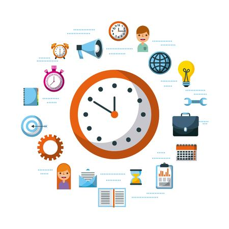 time management planning time organization of working vector illustration