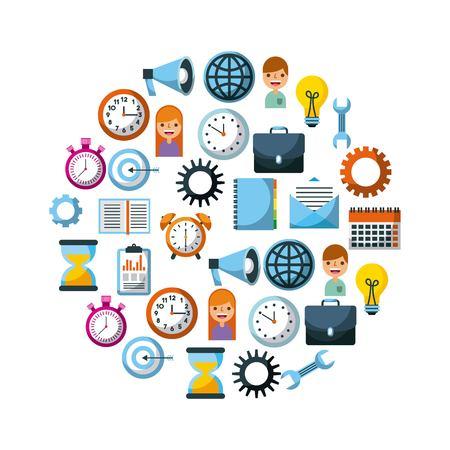 set of business element social media design vector illustration Ilustrace