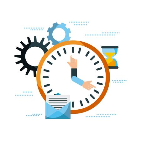 business clock time email work management vector illustration