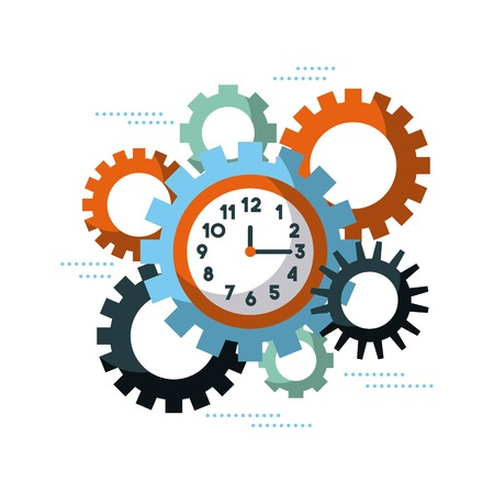 business clock time gears team work cooperation vector illustration