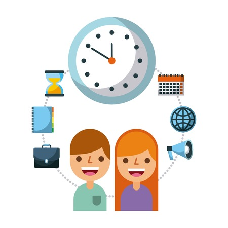 business people time watch work employee vector illustration