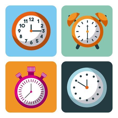 alarm clock stopwatch time management business planning vector illustration