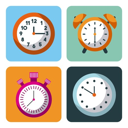 alarm clock stopwatch time management business planning vector illustration