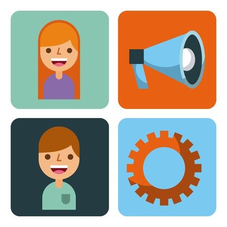 set of business element app design vector illustration