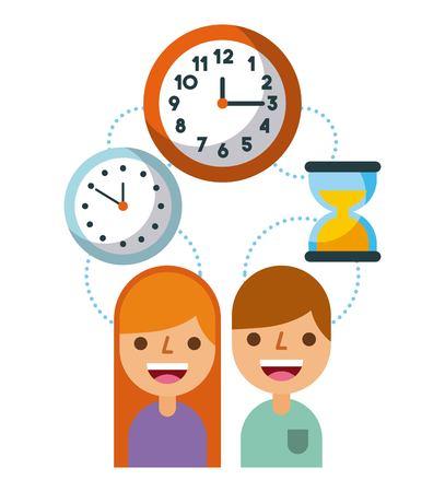 business people time work management concept vector illustration