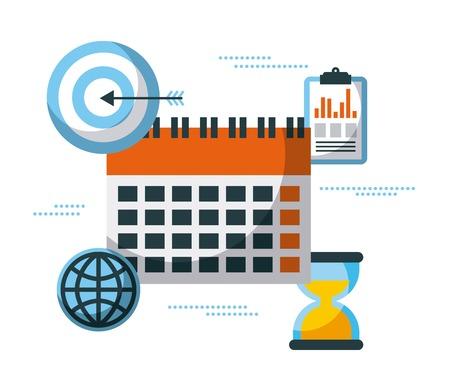 経営計画のクロック時間成功ターゲット ベクトル図