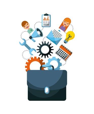Zakelijke aktetas ondersteuning werk teamplan spreker vectorillustratie Stockfoto - 85212566