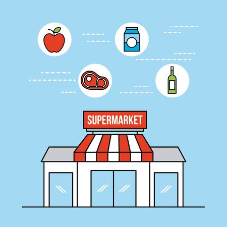 supermarket grocery and store food and drinks vector illustration