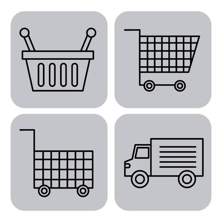 set or design elements relating to supermarket carts basket and truck vector illustration