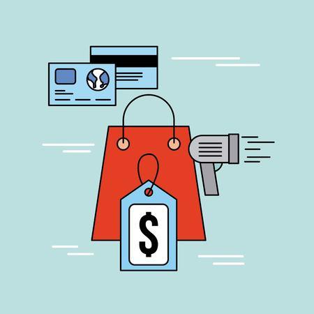 paper bag tag price bar code scanner and card bank vector illustration