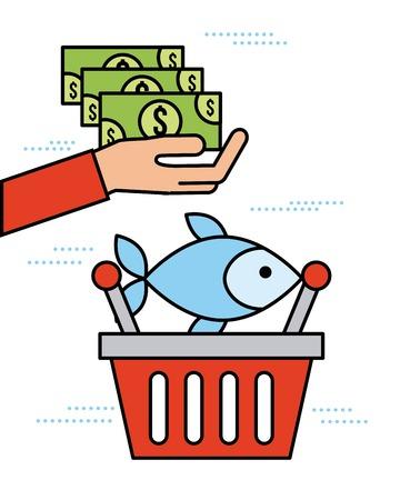 hand holding banknote with basket fish market shop vector illustration