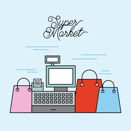 supermarket cash register with differents paper bag shop vector illustration