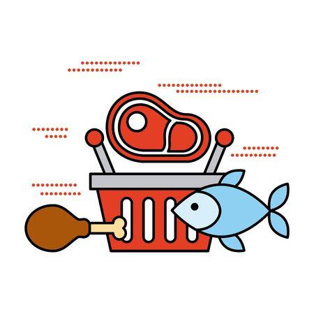 Cesta de la compra con carne de pescado y comida de pollo ilustración vectorial Foto de archivo - 85212581
