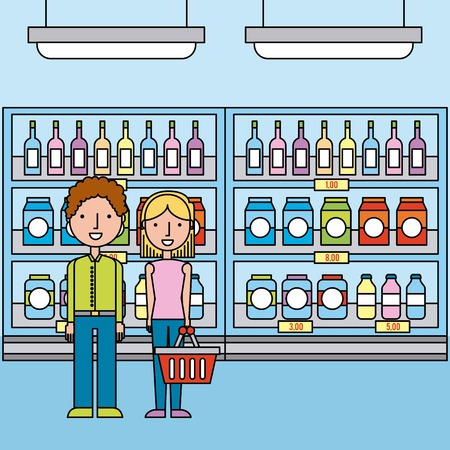 couple in supermarket shelves with bottles and boxes beverage vector illustration