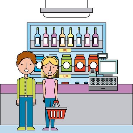 people in supermarket shopping interior cash register shelf drinks store cartoon vector illustration