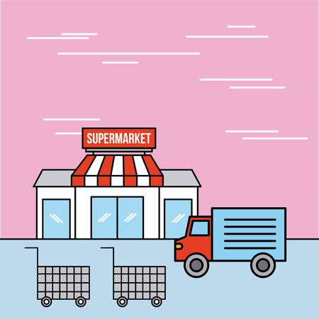 supermarket facade delivery truck and cart shopping vector illustration