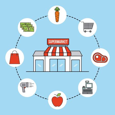 supermarket facade exterior commerce grocery icons vector illustration
