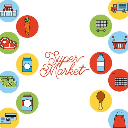 supermarket food set with meat steak money basket cart milk products isolated vector illustration