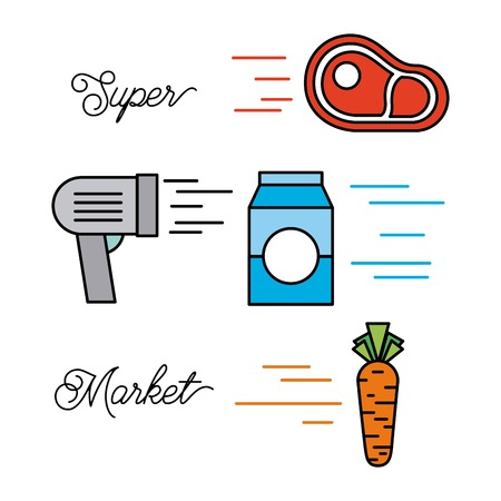 supermarket food set with meat steak milk vegetable barcode scanner products vector illustration