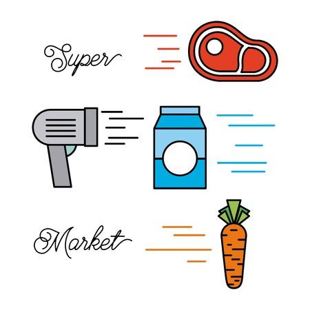 supermarket food set with meat steak milk vegetable barcode scanner products vector illustration