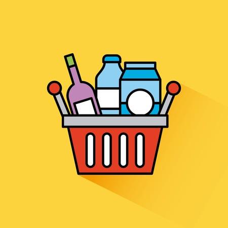 basket shopping bottle drink box milk vector illustration Stock Vector - 85212811