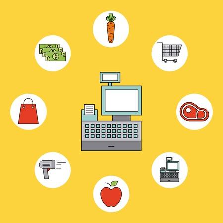 cash register supermarket products food vegetable fruit vector illustration Ilustração