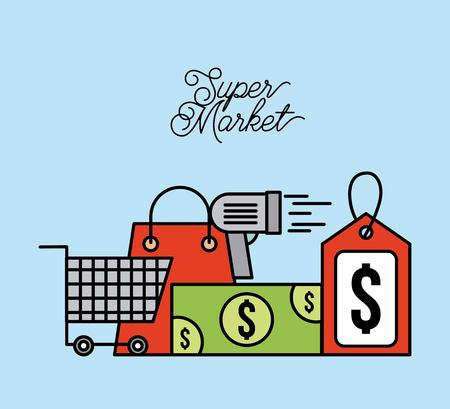supermarket paper bag cart shopping money scanner and tag price vector illustration