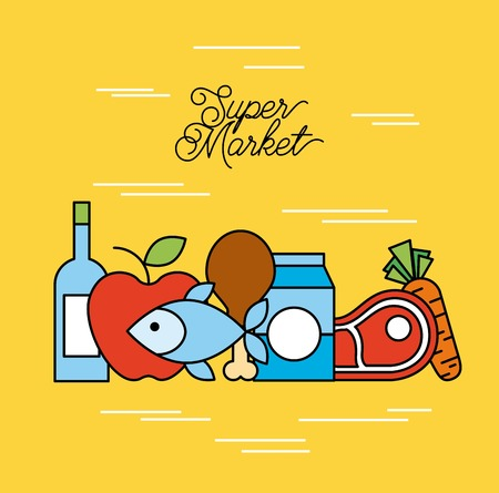 supermarket food set with meat steak bottle chicken fruit vegetable milk products vector illustration Stock Vector - 85212798