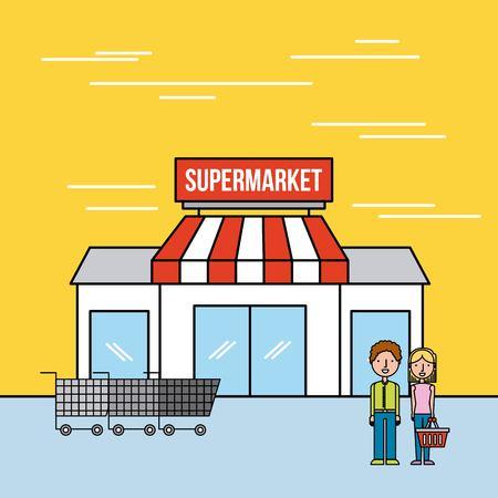 supermarket building couple customers cart shopping vector illustration Illustration