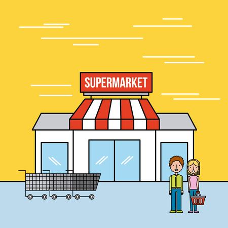 supermarket building couple customers cart shopping vector illustration Ilustrace