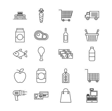 set of differents products supermarket food drink cart basket icons vector illustration Illustration