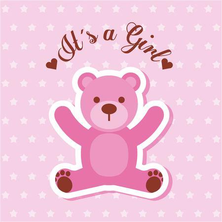 its a girl pink bear card invitation baby shower vector illustration