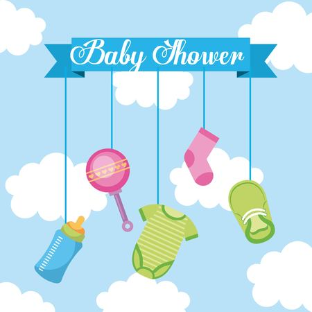 baby shower lettering hanging elements decoration vector illustration