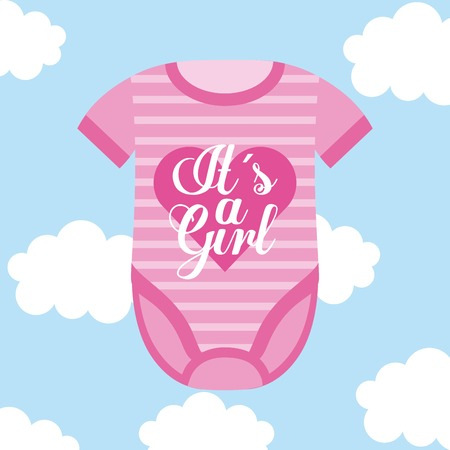 its a girl baby clothes card sky cloud background vector illustration