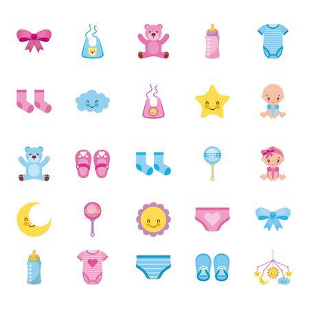 cute set of baby shower elements decoration celebration vector illustration