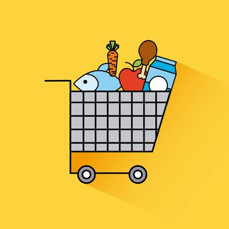 cartoon full cart shopping food fresh grocery vector illustration