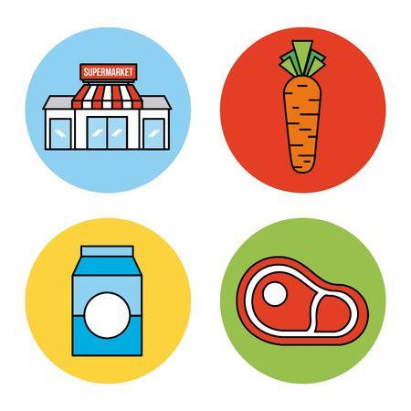 set or design elements relating to supermarket food drink and other items vector illustration Çizim
