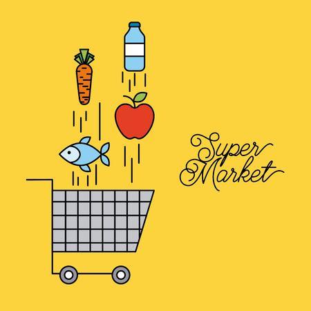 Cesta de supermercado carrito con la caída de la ilustración vectorial de alimentos Foto de archivo - 85212851