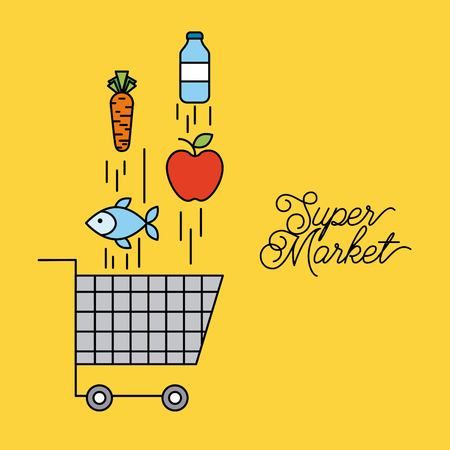 supermarket cart shopping with falling food vector illustration