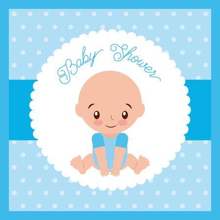 赤ちゃんシャワー少年グリーティング カード青背景ベクトル イラスト 写真素材 - 85212852