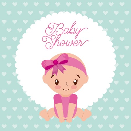 baby shower girl with diadem bow pink design background vector illustration
