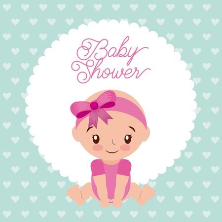 Babydouche meisje met diadeem boog roze ontwerp achtergrond vector illustratie Stockfoto - 85212854