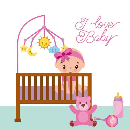 happy sitting baby girl is in the crib with teddy rattle and bottle vector illustration
