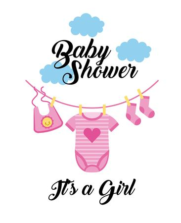 baby shower its a girl clothes hanging with cloud vector illustration Vectores