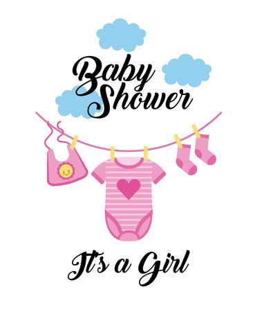 Baby shower is een meisje kleding hangend met wolk vector illustratie