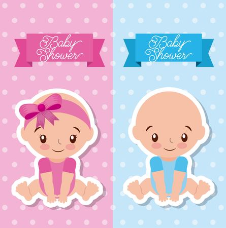 baby shower greeting card with boy and girl vector illustration Ilustracja