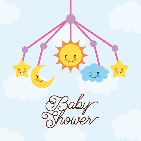 Baby shower crib prendendo giocattolo con la luna stella sun cloud illustrazione vettoriale Archivio Fotografico - 85212860